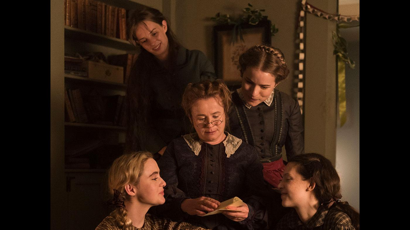 Kathryn Newton as Amy, Maya Hawke as Jo, Willa Fitzgerald as Meg, and Annes Elwy as Beth, and Emily Watson as Marmee in Little Women