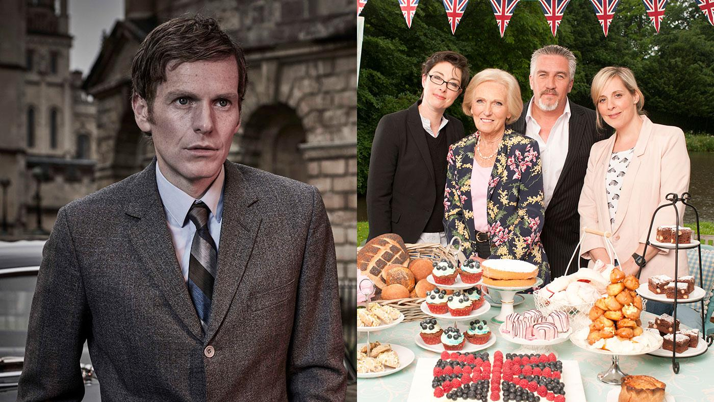 Endeavour; The Great British Baking Show. Photos: Jonathan Ford/Mammoth Screen for ITV and MASTERPIECE; Love Productions