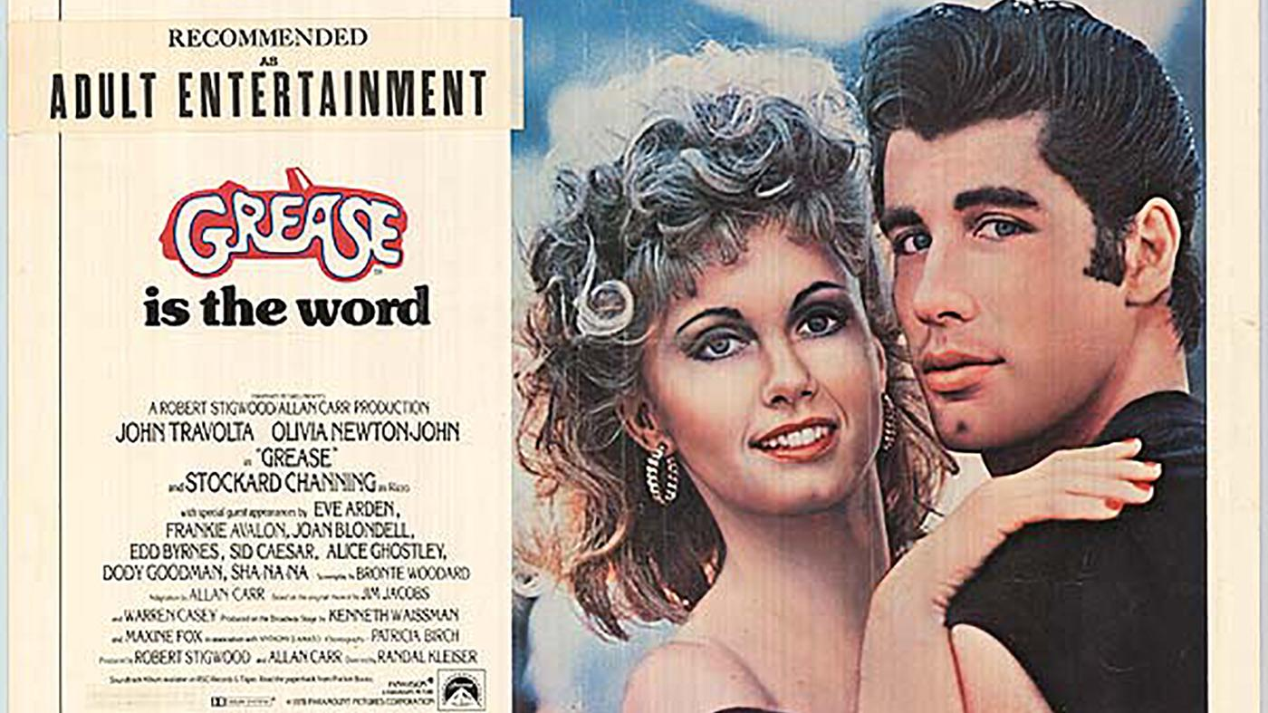 The film poster for Grease, with Olivia Newton-John and John Travolta