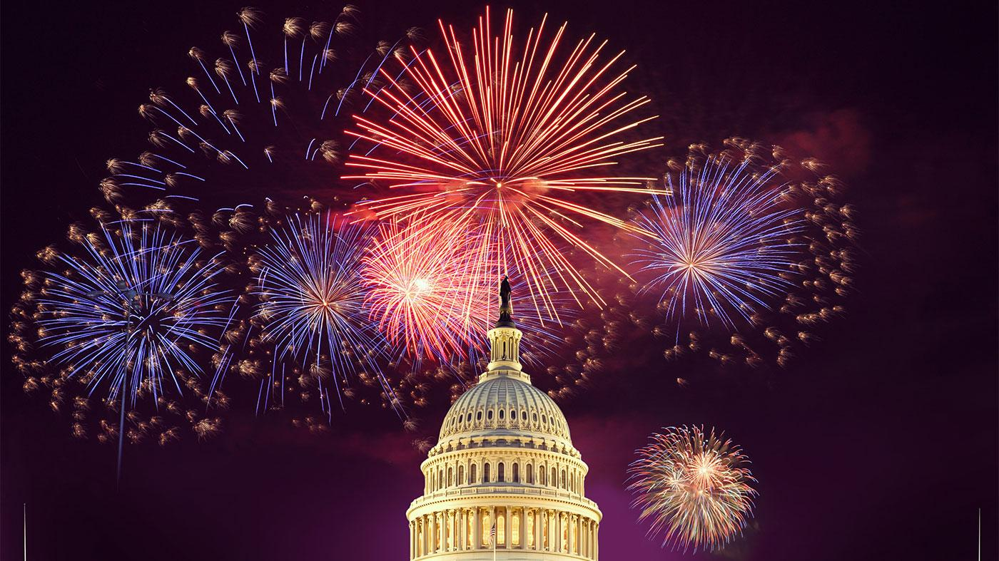 Fireworks over the US Capitol on the Fourth of July. Photo: Capital Concerts/Keith Lamond via Shutterstock