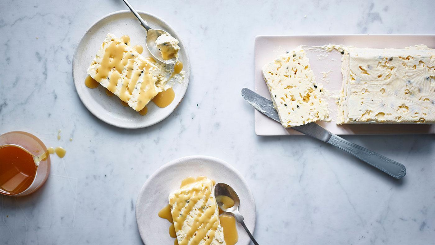 Nigella Lawson's Passion Fruit Ice Cream Cake with Coconut Caramel Sauce