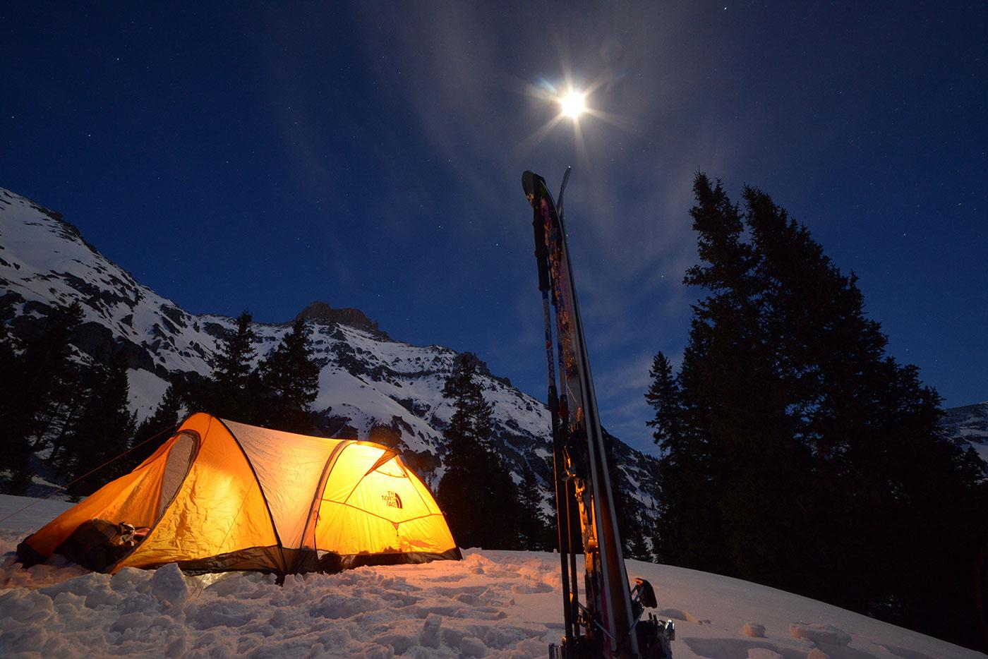 A nighttime camp for a skiing expedition in the Rocky Mountains. Photo: BBC