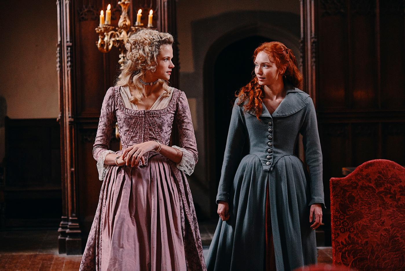Gabriella Wilde as Caroline and Eleanor Tomlinson as Demelza in Poldark. Photo: Mammoth Screen for BBC and MASTERPIECE