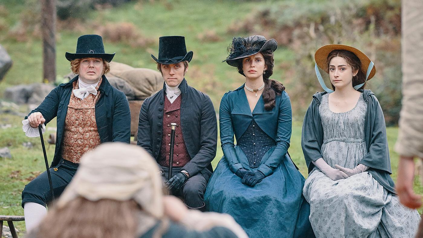 Christian Brassington as Ossie, Jack Farthing as George, Heida Reed as Elizabeth, and Ellise Chappell as Morwenna in Poldark. Photo: Mammoth Screen for BBC and MASTERPIECE