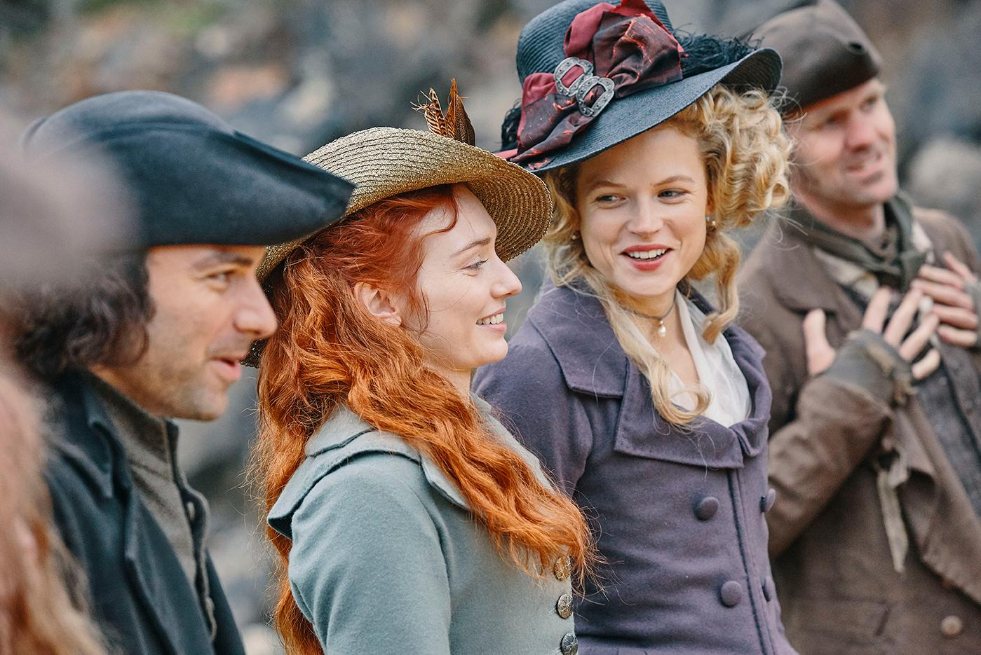 Aidan Turner as Ross, Gabriella Wilde as Caroline, and Eleanor Tomlinson as Demelza in Poldark. Photo: Mammoth Screen for BBC and MASTERPIECE