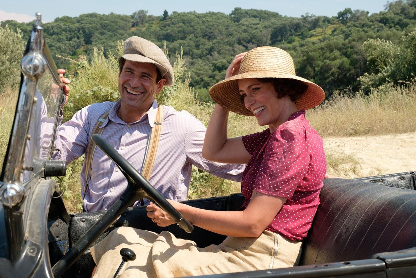 Spyros (ALEXIS GEORGOULIS) & Louisa Durrell (KEELEY HAWES) in The Durrells in Corfu. Photo: Joss Barratt for Sid Gentle Films & MASTERPIECE