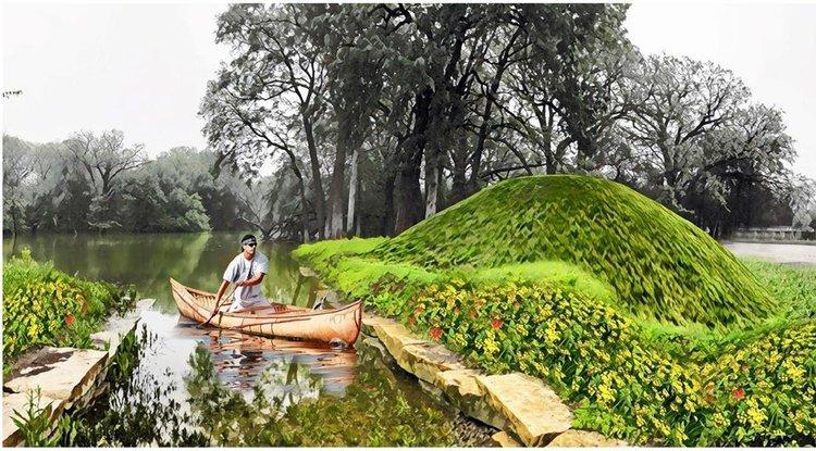 A rendering of a proposed Serpent Mound for Schiller Woods on the Des Plaines River as part of the Northwest Portage Walking Museum. Image: American Indian Center