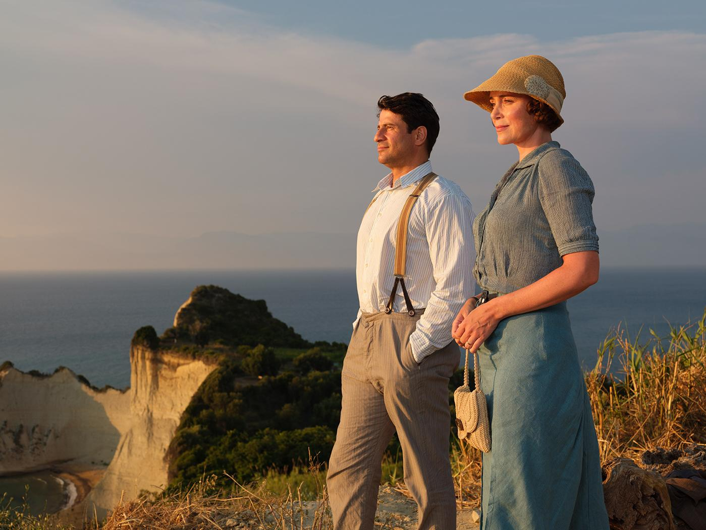 Spiro (ALEXIS GEORGOULIS), Louisa Durrell (KEELEY HAWES) in The Durrells in Corfu. Photo: Joss Barratt for Sid Gentle Films & MASTERPIECE