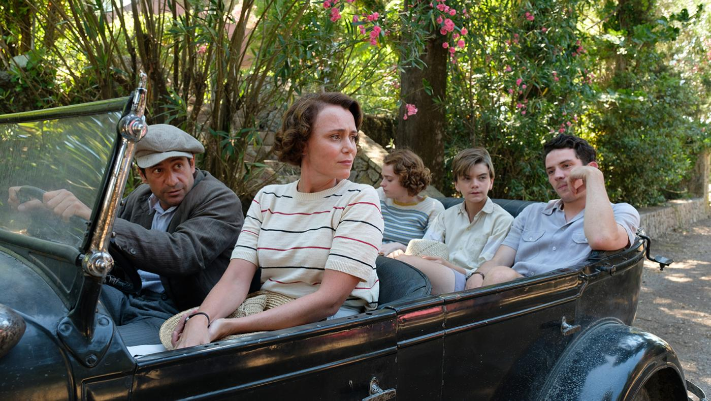 Spiro (ALEXIS GEORGOULIS), Louisa Durrell (KEELEY HAWES), Margo Durrell (DAISY WATERSTONE), Gerald Durrell (MILO PARKER) & Lawrence Durrell (JOSH O'CONNOR) in The Durrells in Corfu. Photo: Joss Barratt for Sid Gentle Films & MASTERPIECE