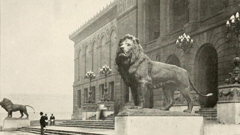 Edward Kemeys's Lions outside the Art Institute of Chicago, c. 1900. Photo: Art Institute of Chicago