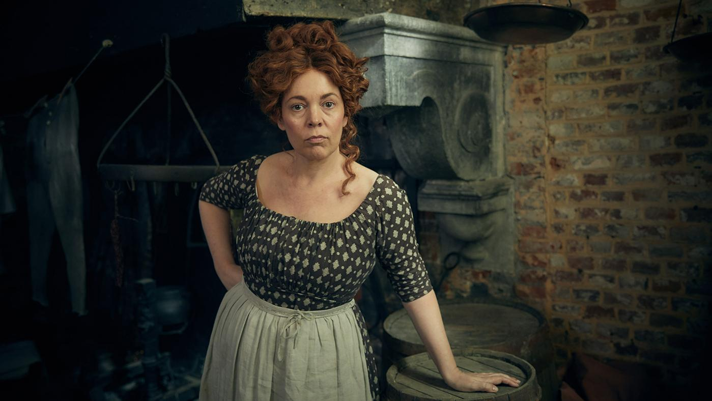 Olivia Colman as Madame Thénardier in a new adaptation of Les Misérables. Photo: BBC - Robert Viglasky