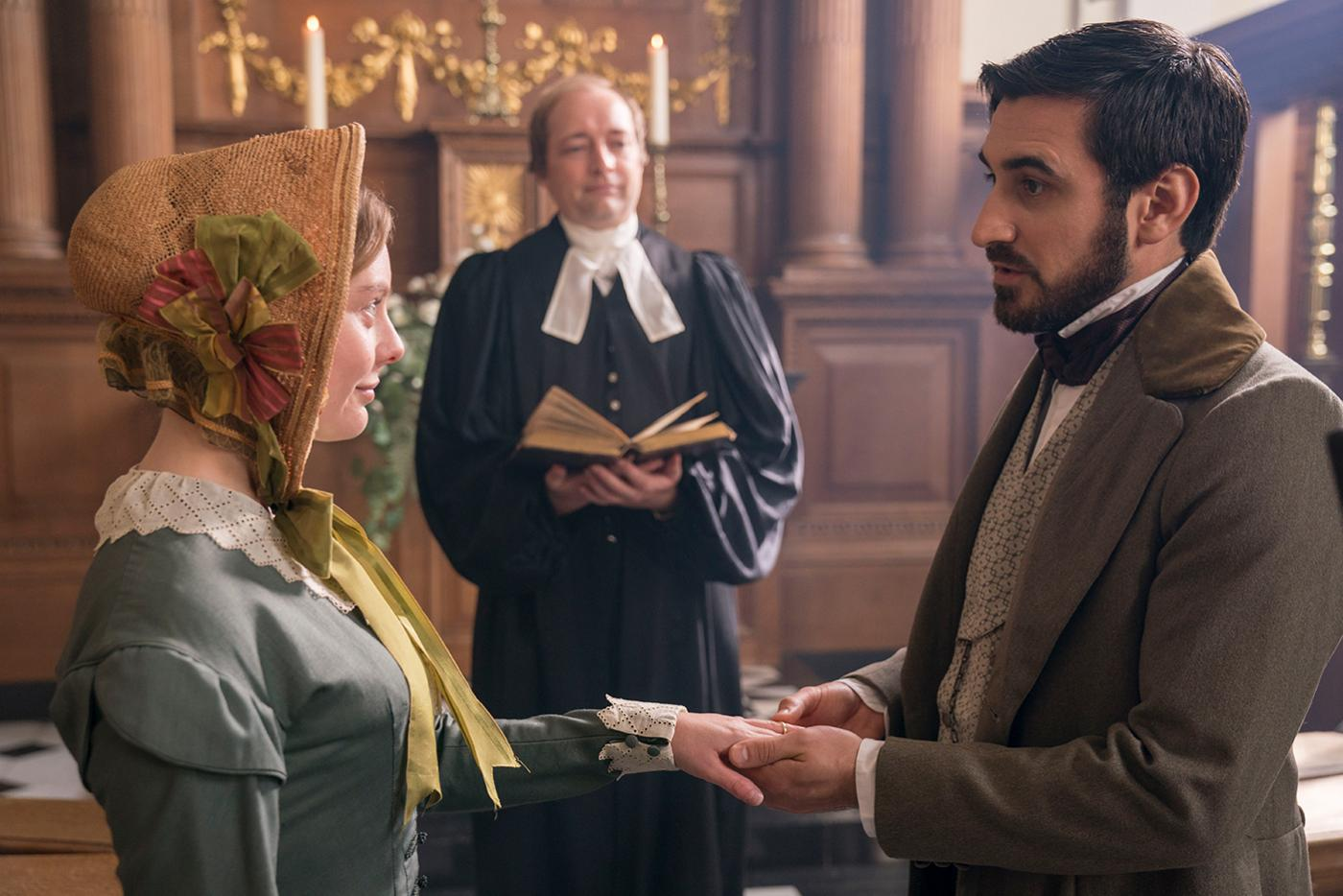 Nell Hudson as Skerrett and Ferdinand Kingsley as Francatelli in Victoria. Photo: Aimee Spinks/ITV Plc for MASTERPIECE