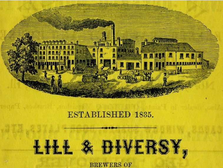 Portion of an ad for Lill and Diversy's Brewery from the 1859 Chicago Business Directory.
