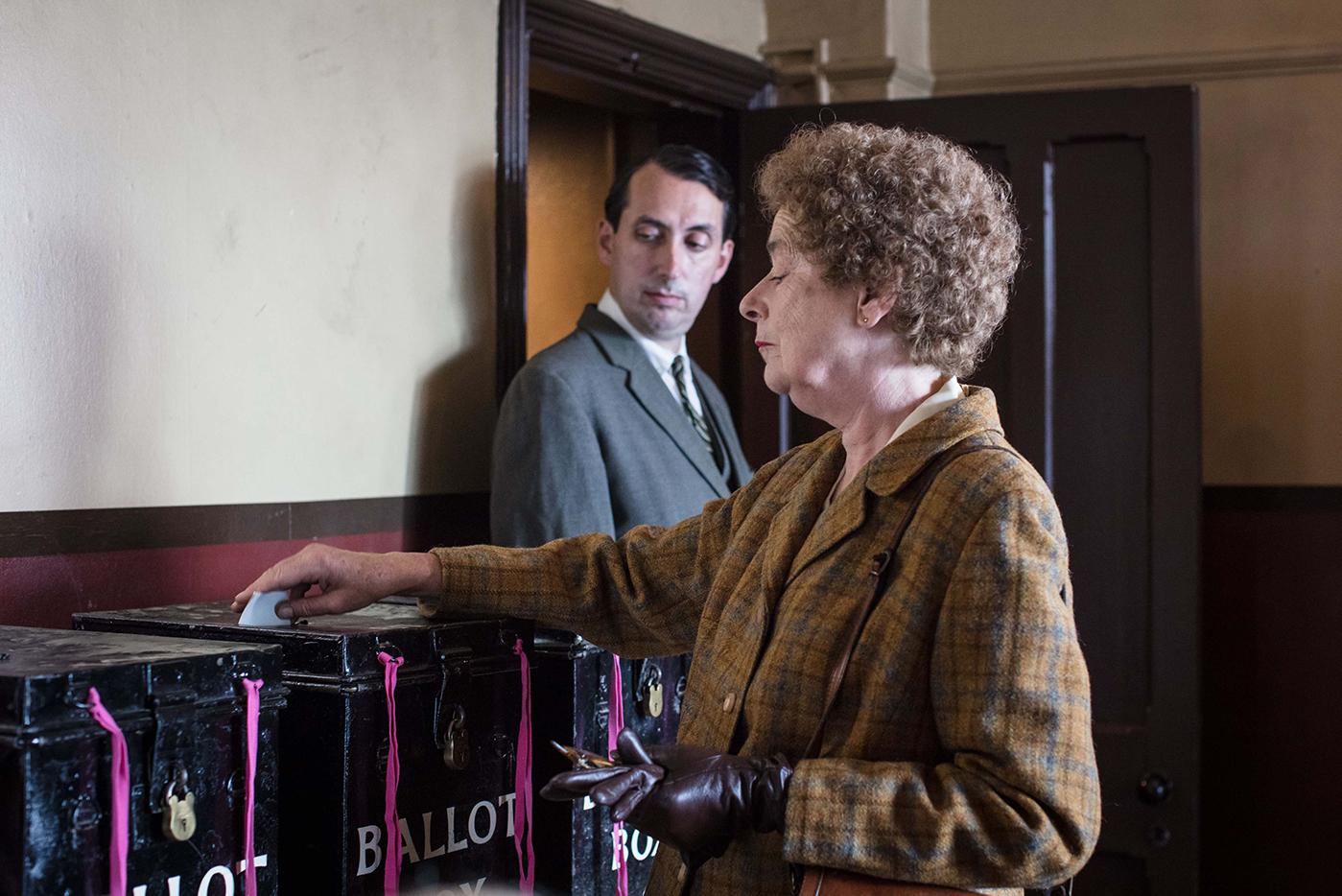 Phyllis voting in Call the Midwife. Photo: BBC/Neal Street Productions