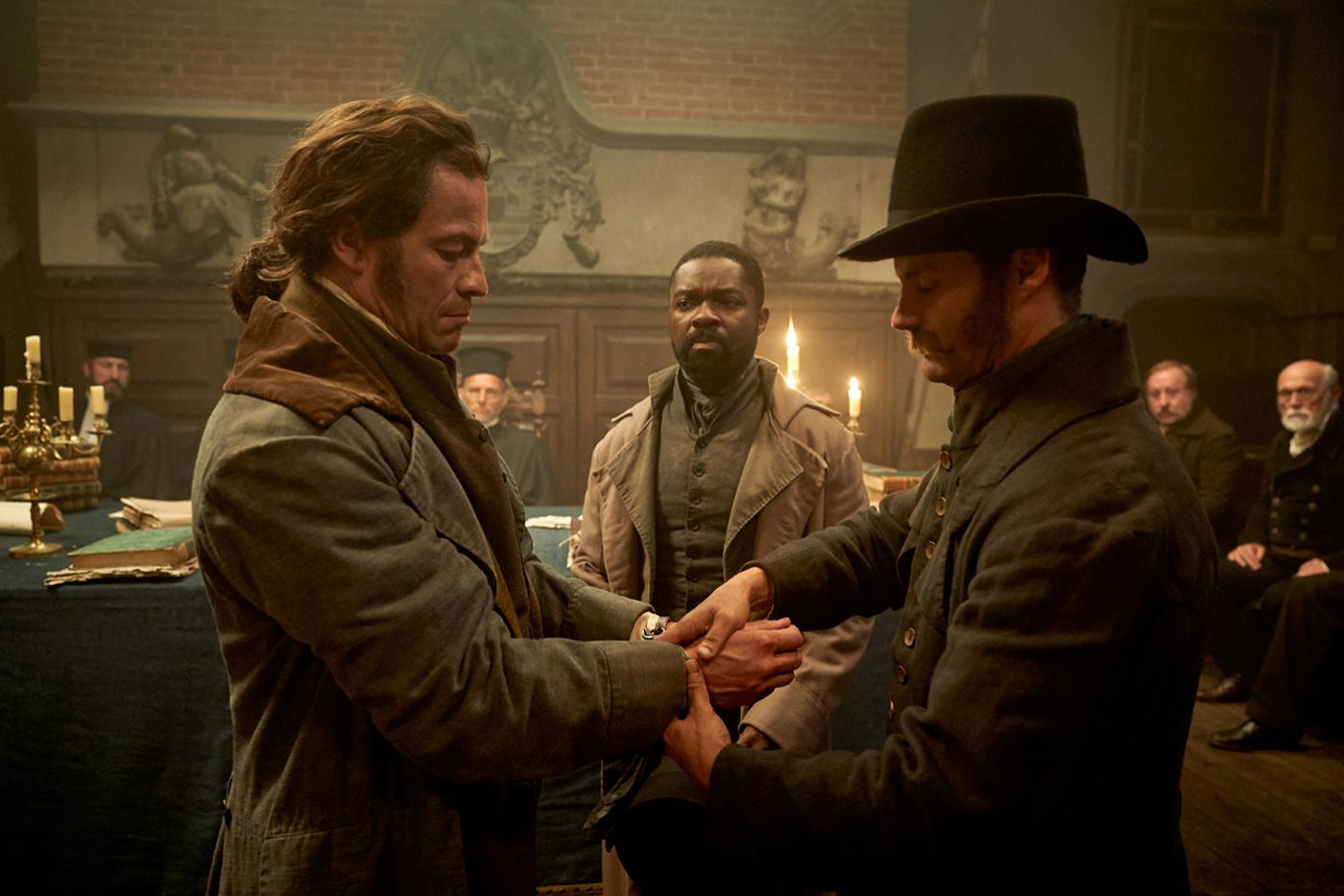 Jean Valjean (Dominic West) is arrested by Javert (David Oyelowo) in Les Miserables. Photo: Robert Viglasky / Lookout Point