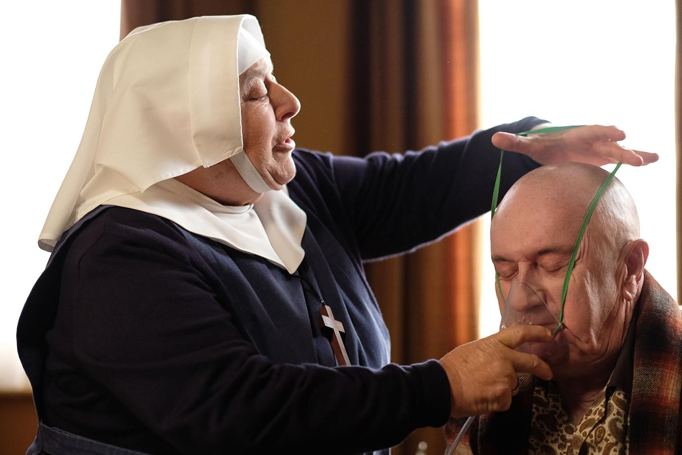Sister Mildred (MIRIAM MARGOLYES), Joe Brittall (DENNIS BANKS) in Call the Midwife. Photo: BBC/Neal Street Productions