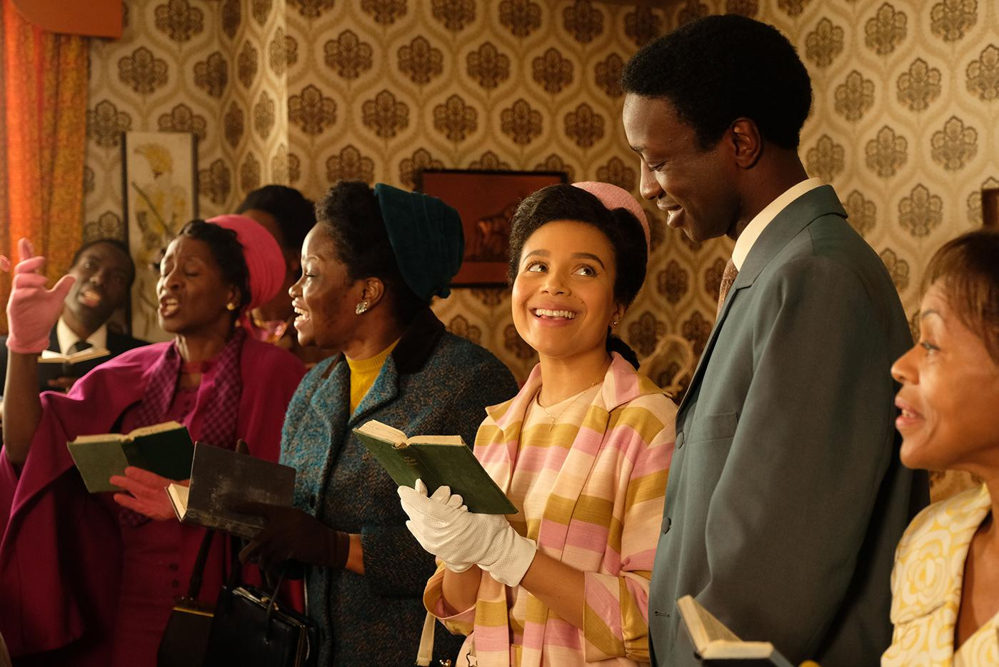 Nurse Lucille Anderson (LEONIE ELLIOTT), Cyril Robinson (ZEPHRYN TAITTE) in Call the Midwife.Photo: BBC/Neal Street Productions