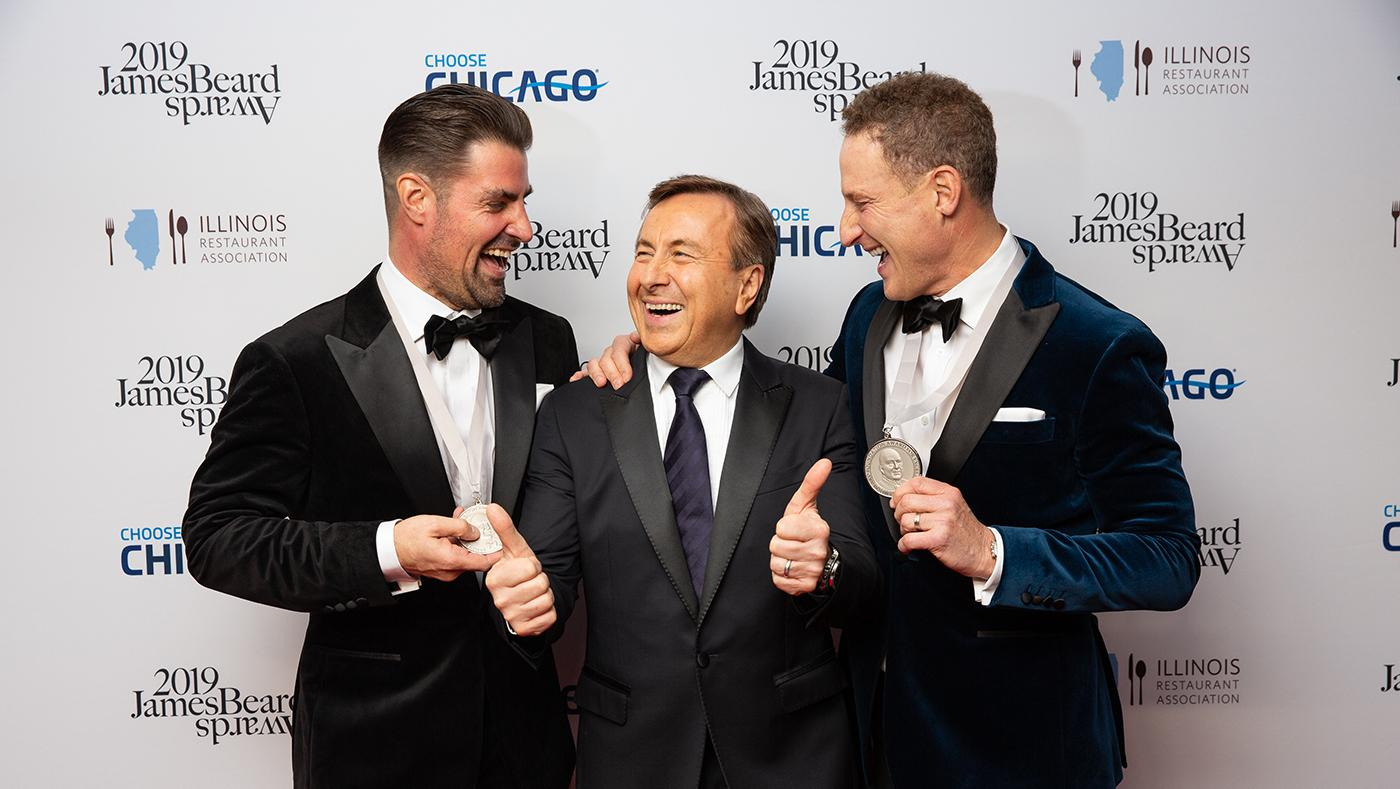 Rob Katz and Kevin Boehm with Chef Daniel Boulud at the James Beard Awards. Photo: Galdo Photography