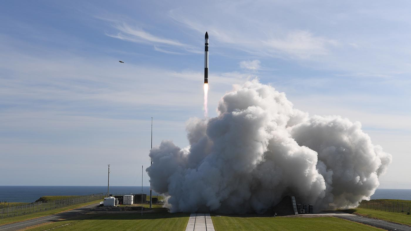 """Rocket Lab's Electron rocket launchs the 'It's Business Time"""" mission - sending a payload of small-satellites to orbit. Photo: Rocket Lab"""