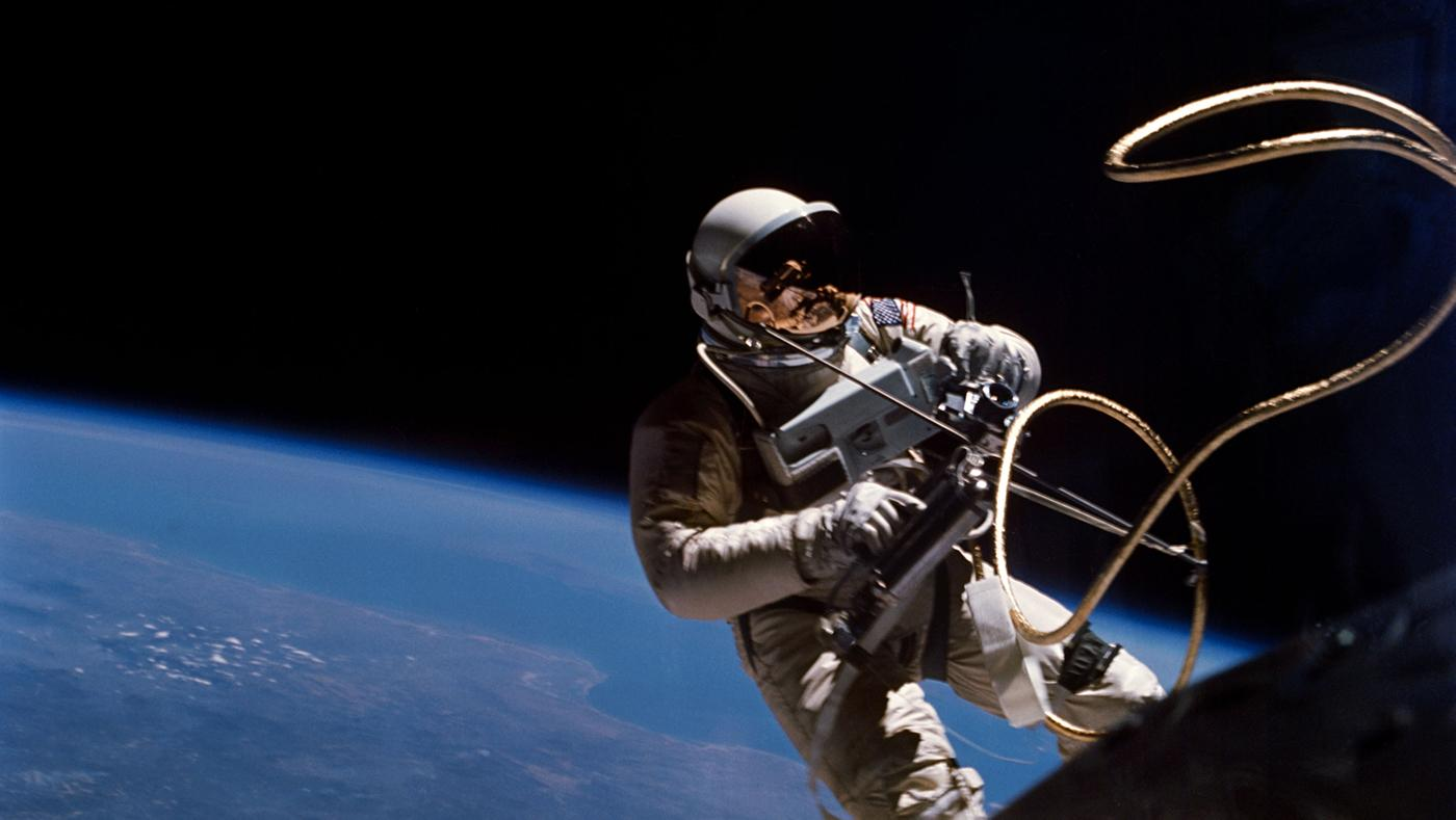 Ed White, the first American to walk in space, on Gemini 4 mission. Photo: Courtesy of the National Aeronautics and Space Administration, June 1965