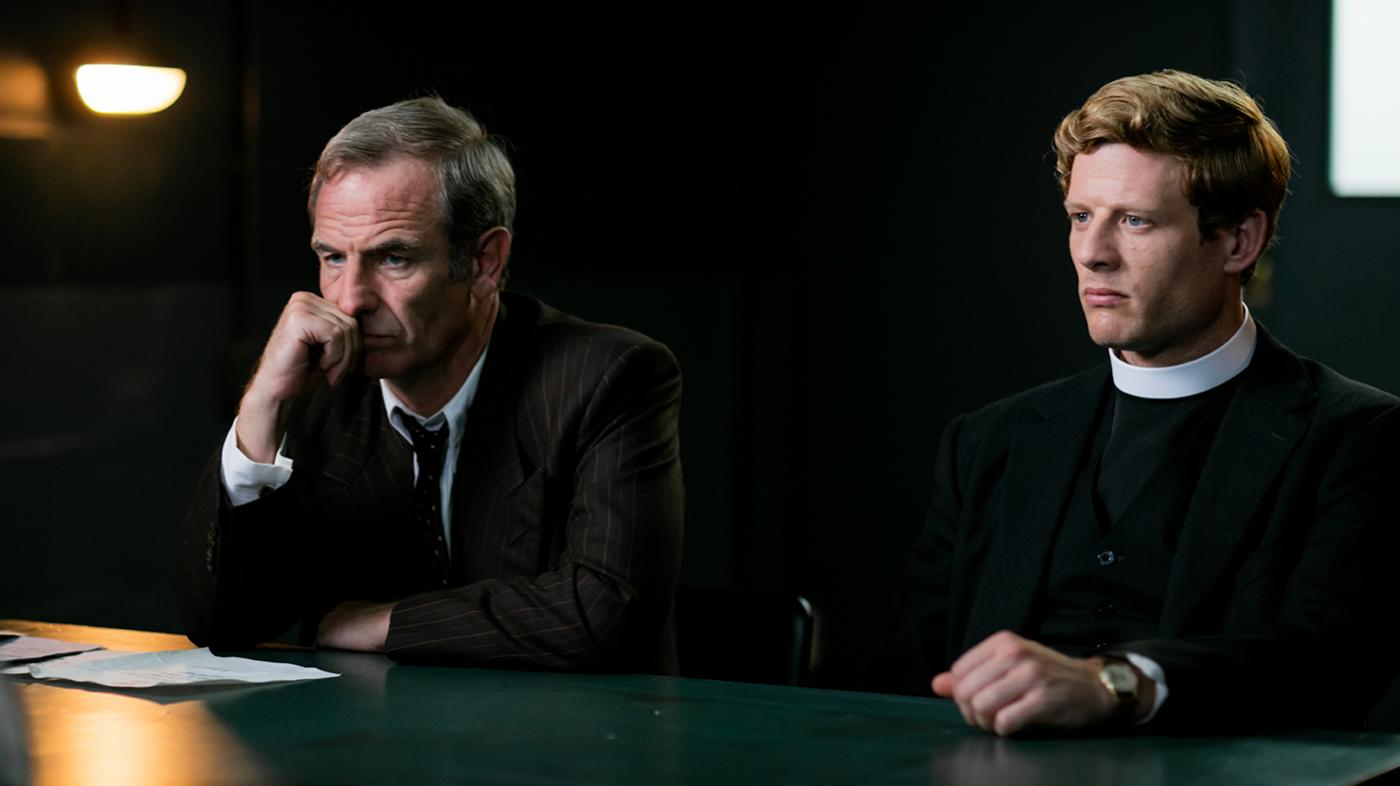 Robson Green as Geordie Keating and James Norton as Sidney Chambers in Grantchester. Photo: Kudos and MASTERPIECE