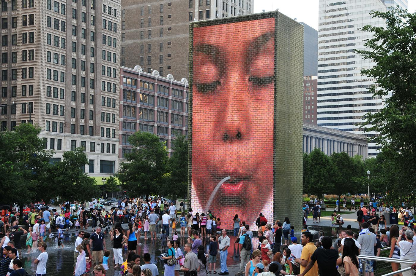 Crown Fountain in Millennium Park in Chicago.Photo: Serge Melki/Flickr
