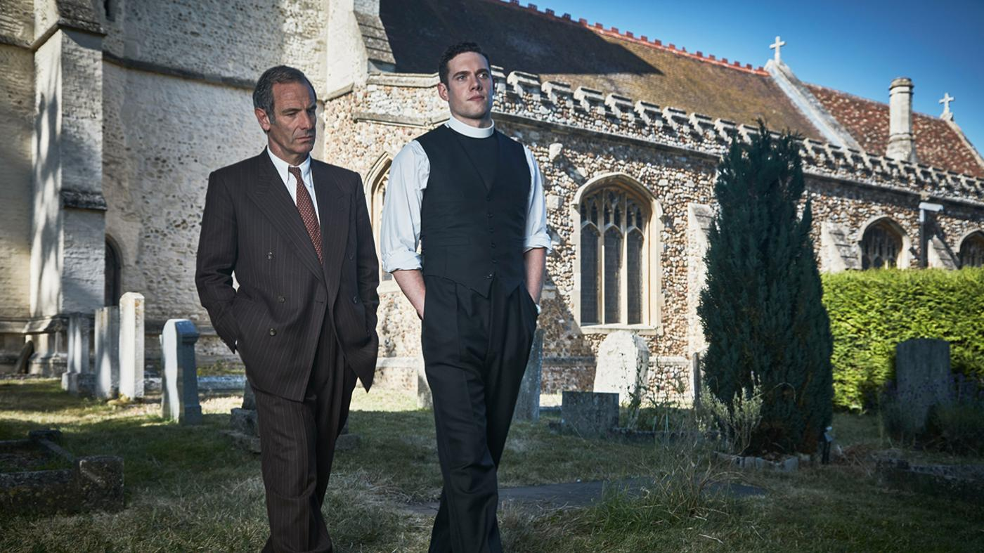 Geordie and Will Davenport in Grantchester. Photo: Kudos and MASTERPIECE