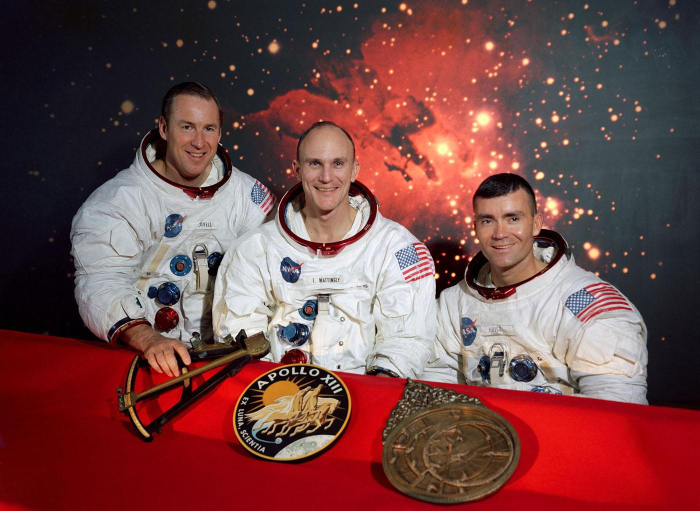 Apollo 13 Crew: Jim Lovelll, Ken Mattingly, and Fred Haise