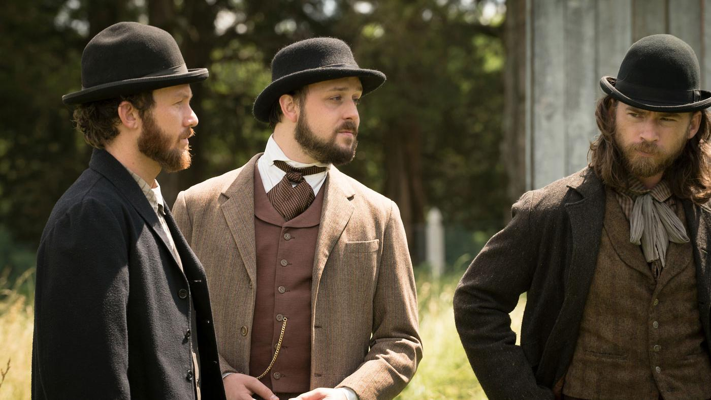 Jimmy Green plotting with the two Confederate henchmen. (Courtesy of PBS/Erik Heinila)