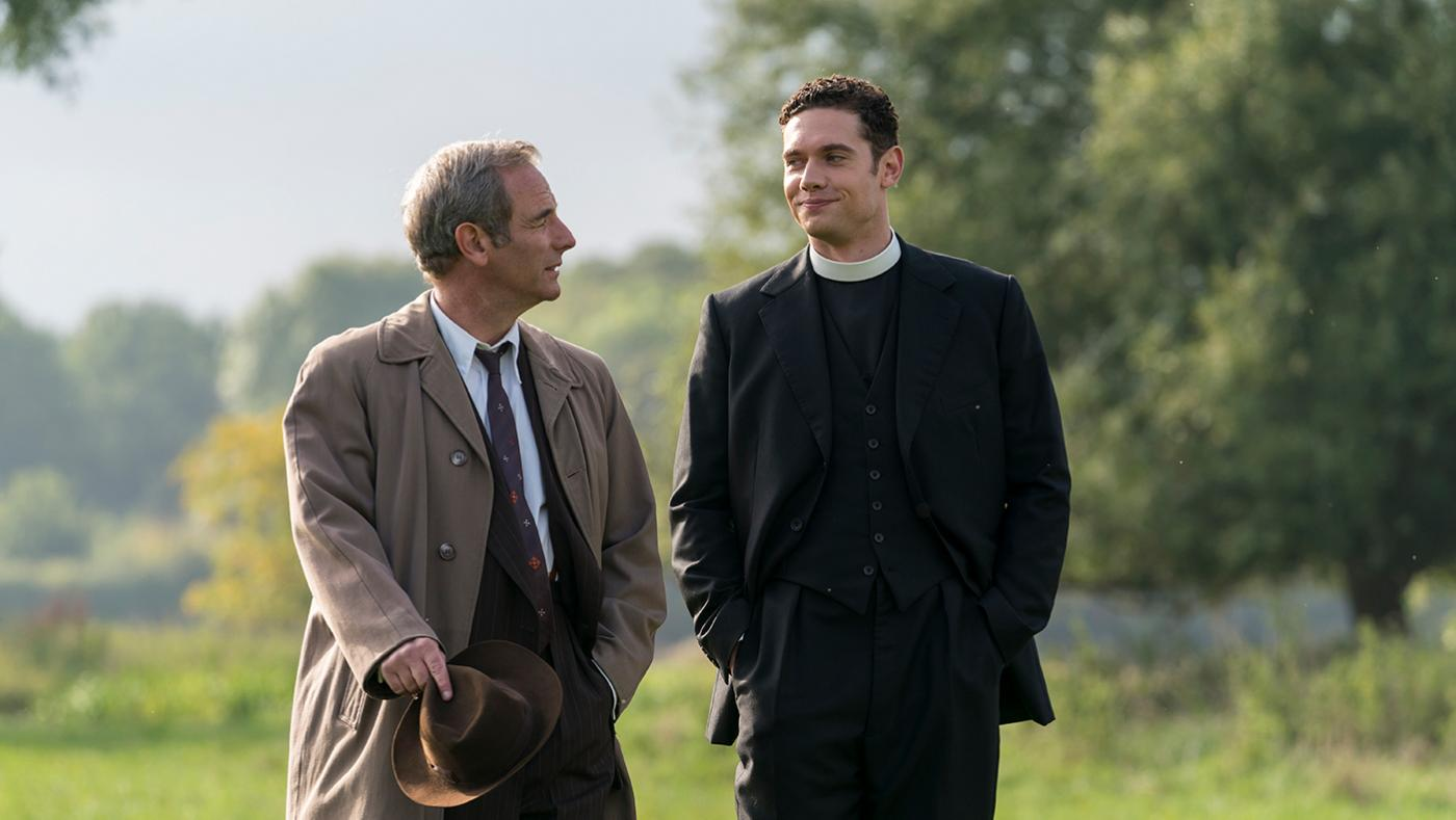 Robson Green as Geordie Keating and Tom Brittney as Will Davenport in Grantchester. Photo: Colin Hutton/Kudos and MASTERPIECE