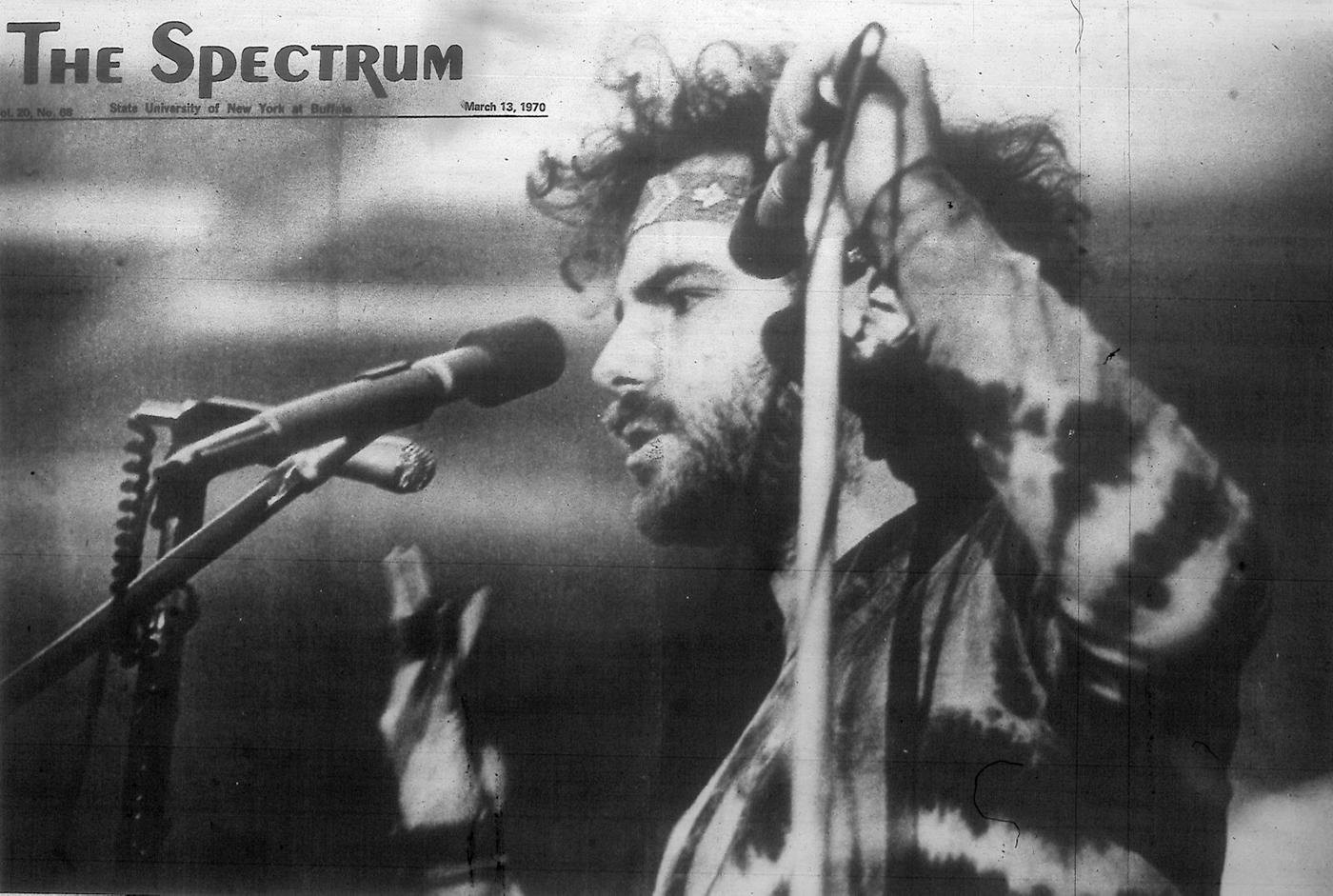 Jerry Rubin speaking at the University at Buffalo's Fillmore Room, one month after his conviction in the Chicago Eight conspiracy trial. Image: The Spectrum/Wikimedia Commons