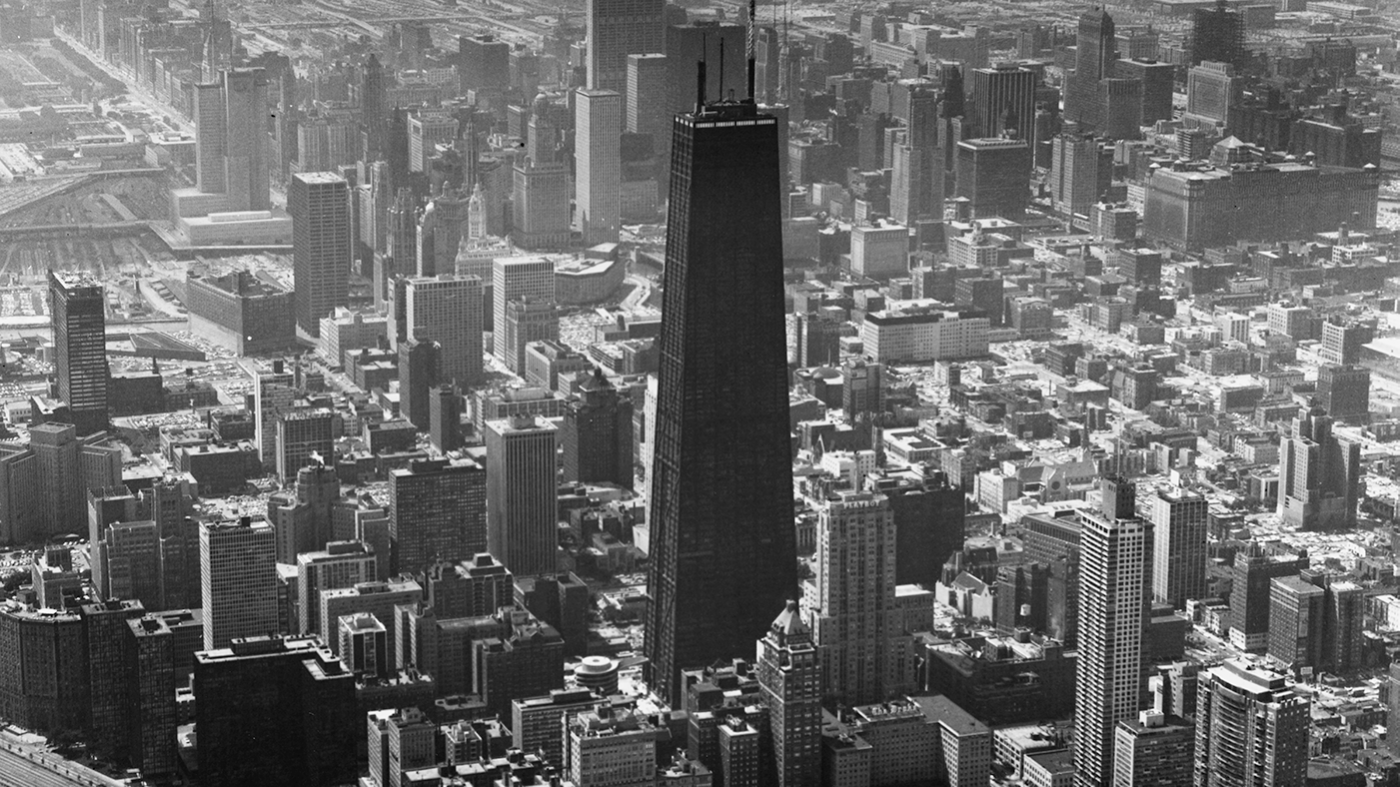 The John Hancock Center, c. 1970. Photo: Chicago History Museum, Hedrich-Blessing collection