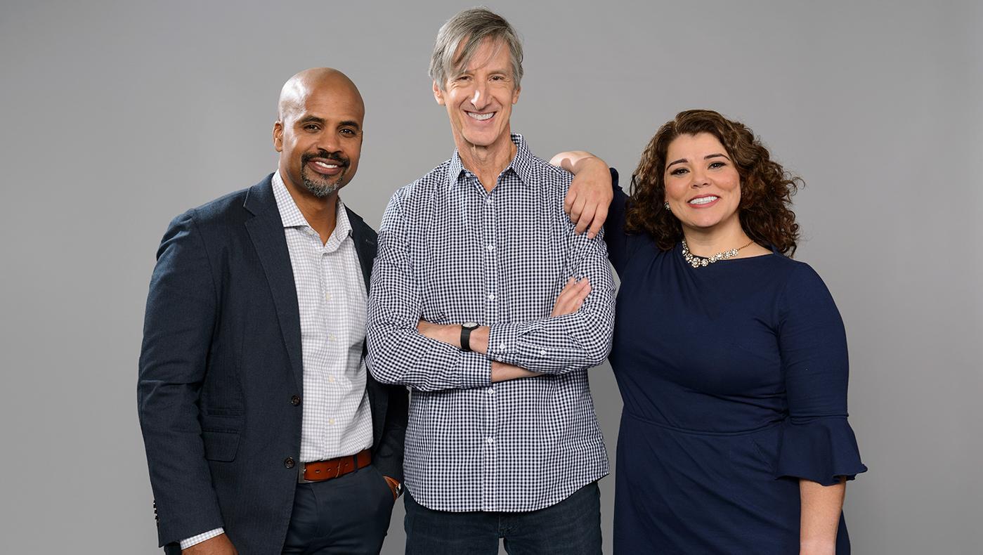Retro Report on PBS host Masud Olufani, contributor Andy Borowitz and host Celeste Headlee. Photo: Brandon Ogden for PBS