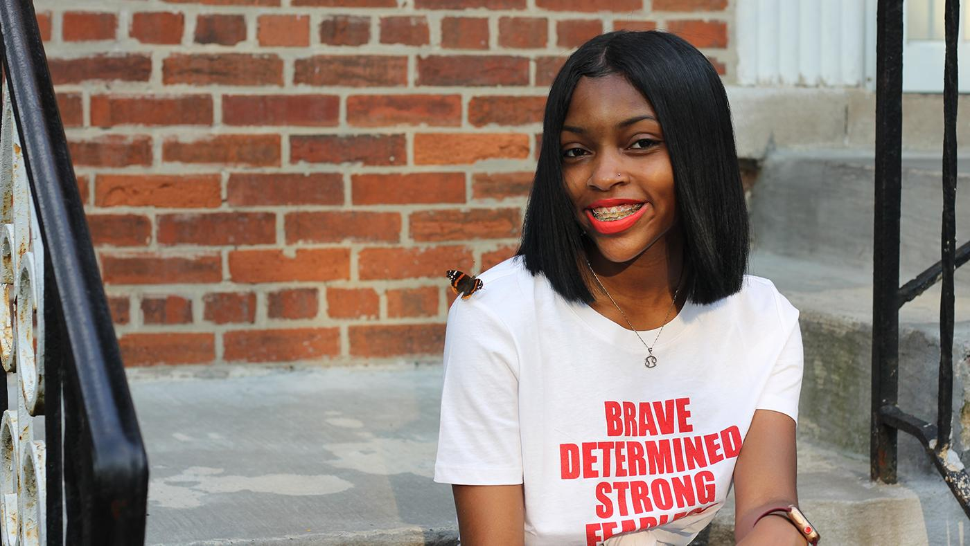 India Hart is a college-bound high school senior featured in FIRSTHAND: Gun Violence. Photo: Zakkiyyah Najeebah for WTTW