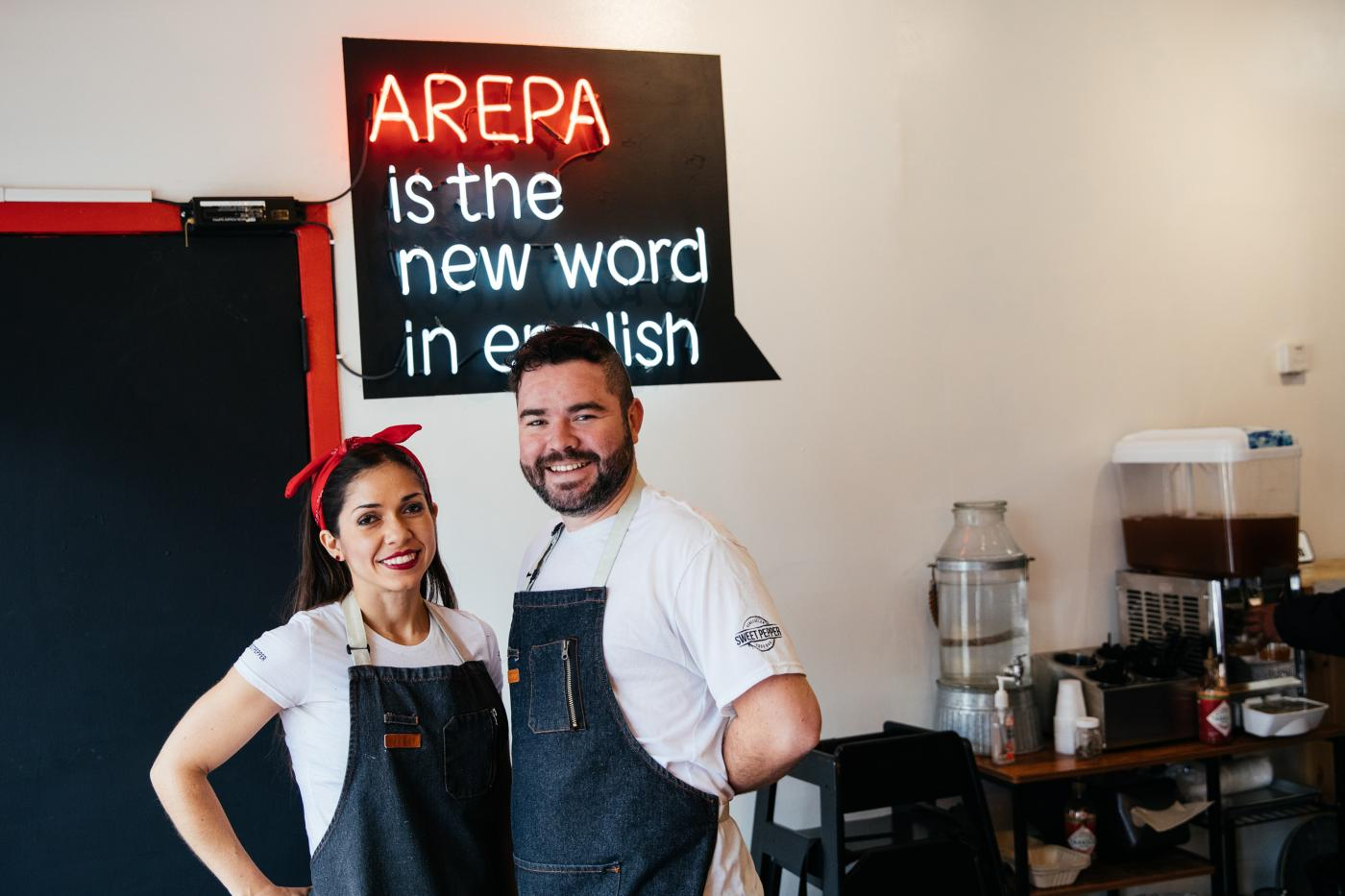 Andrea Andrade and Jose Navea in their restaurant, Sweet Pepper Venezuelan Food Bar. Photo: Sandy Noto for WTTW