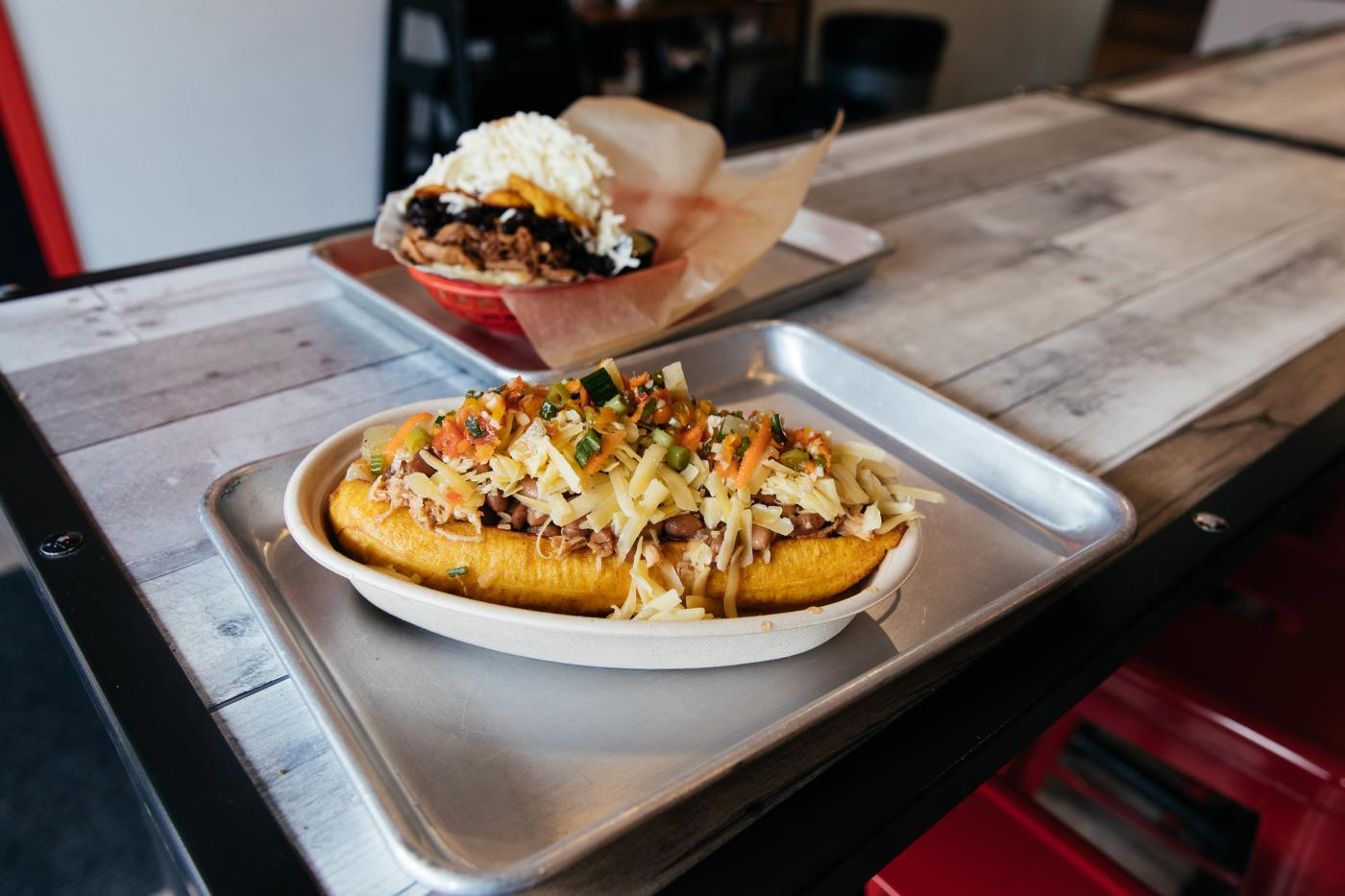 A stuffed plantain at Sweet Pepper Venezuelan Food Bar. Photo: Sandy Noto for WTTW