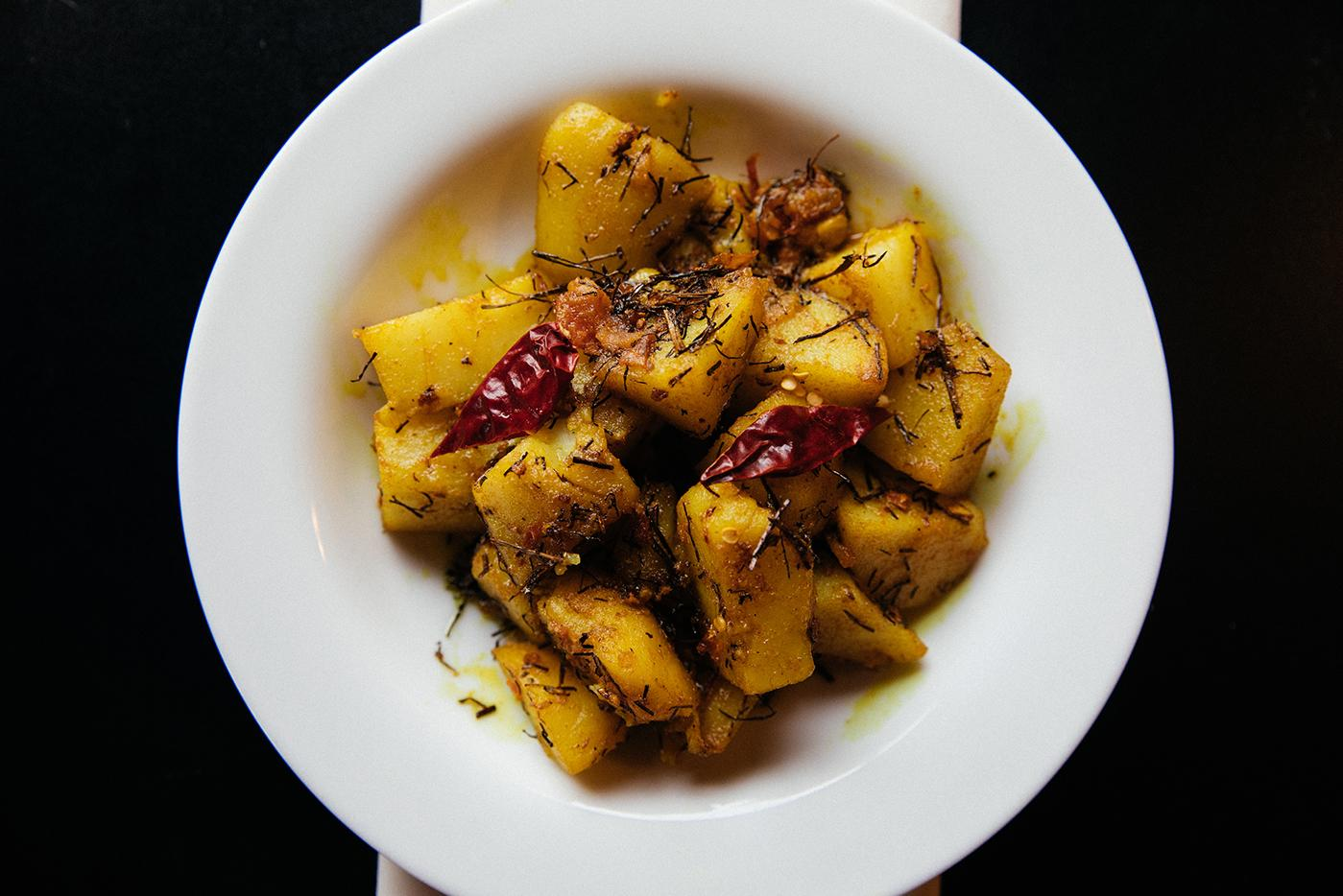 Jimboo aloo, potatoes with spices, from Himalayan Sherpa Kitchen. Photo: Sandy Noto for WTTW