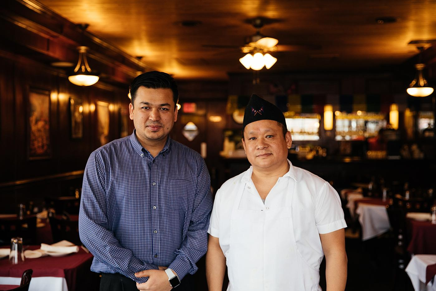 Himalayan Sherpa Kitchen co-owner Raj Thapa with chef and co-owner Bhim Rai. Photo: Sandy Noto for WTTW