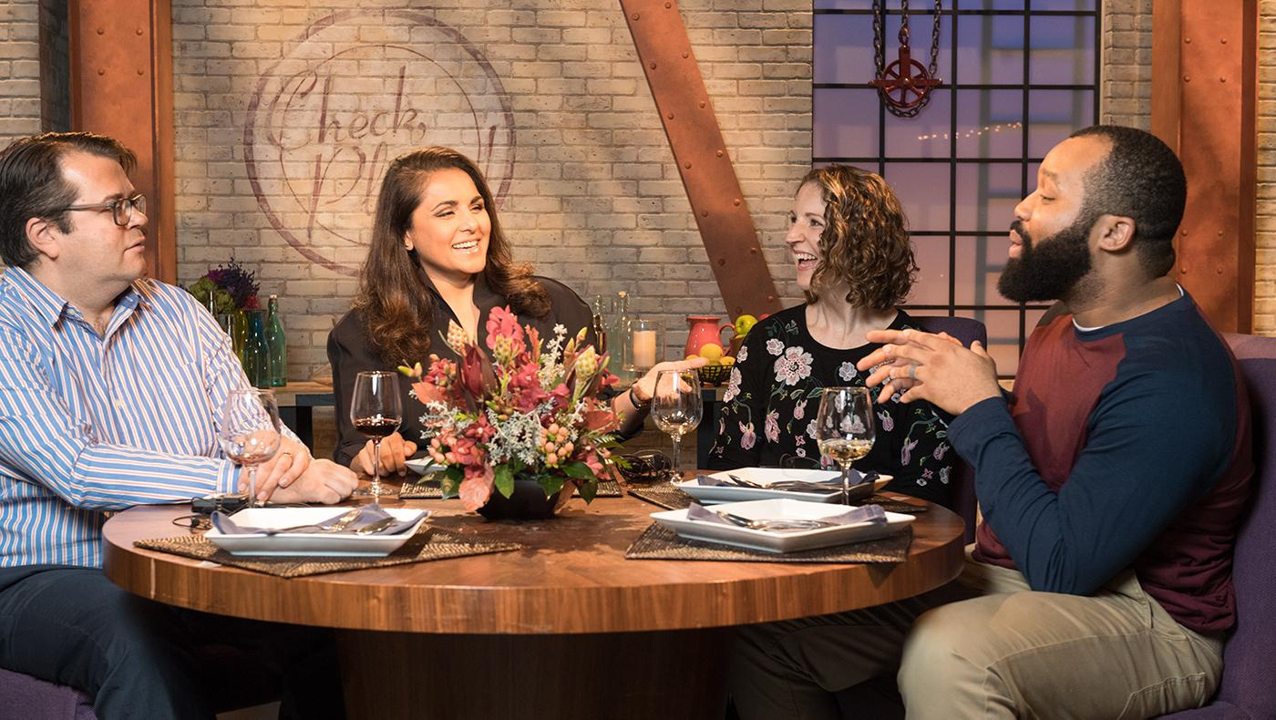 Alpana Singh with guests in season 19 of Check, Please! Photo: WTTW/Ken Carl