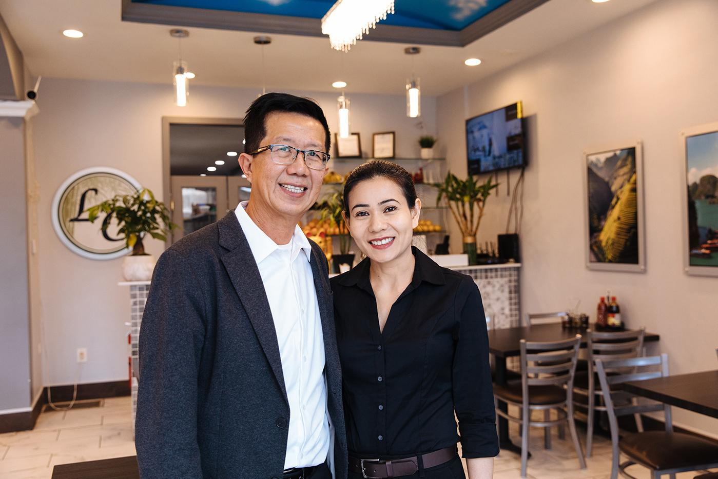 Torrance Ly and Lieu Nguyen at their restaurant in Chicago, LC Pho n Grill. Photo: Sandy Noto for WTTW