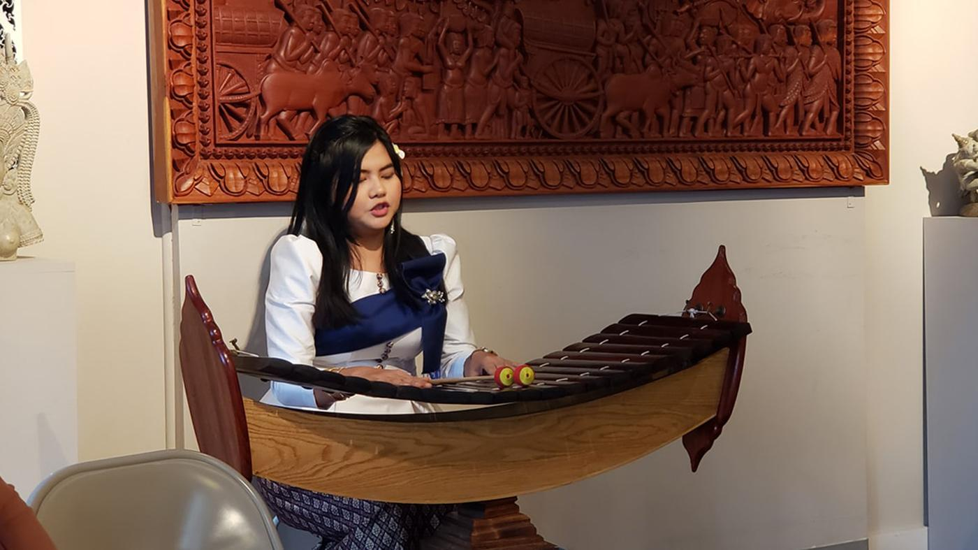Punisa Pov playing roneat aek at the National Cambodian Heritage Museum. Photo: Courtesy National Cambodian Heritage Museum