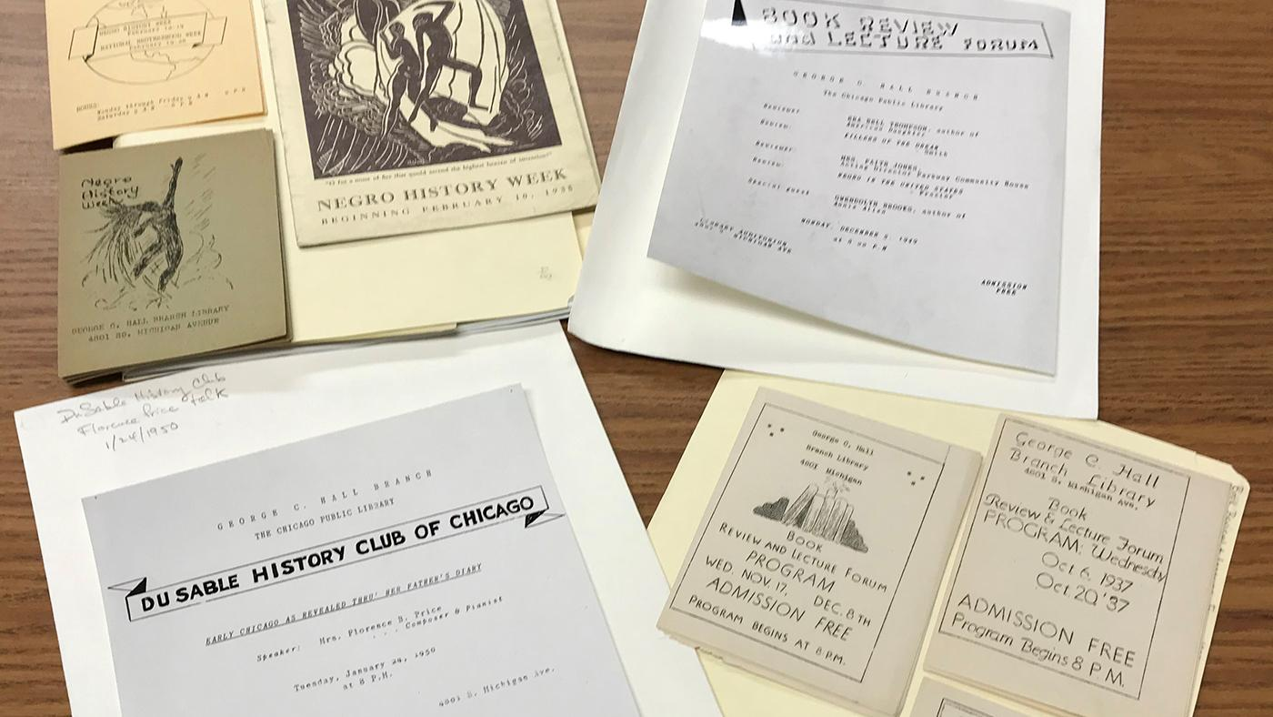 Brochures advertising events organized by Vivian Harsh at the Hall Branch of the Chicago Public Library
