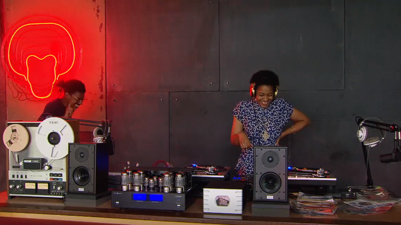 DJ Ayana Contreras at the AESOP DJ Booth at the 95th St. Red Line Station