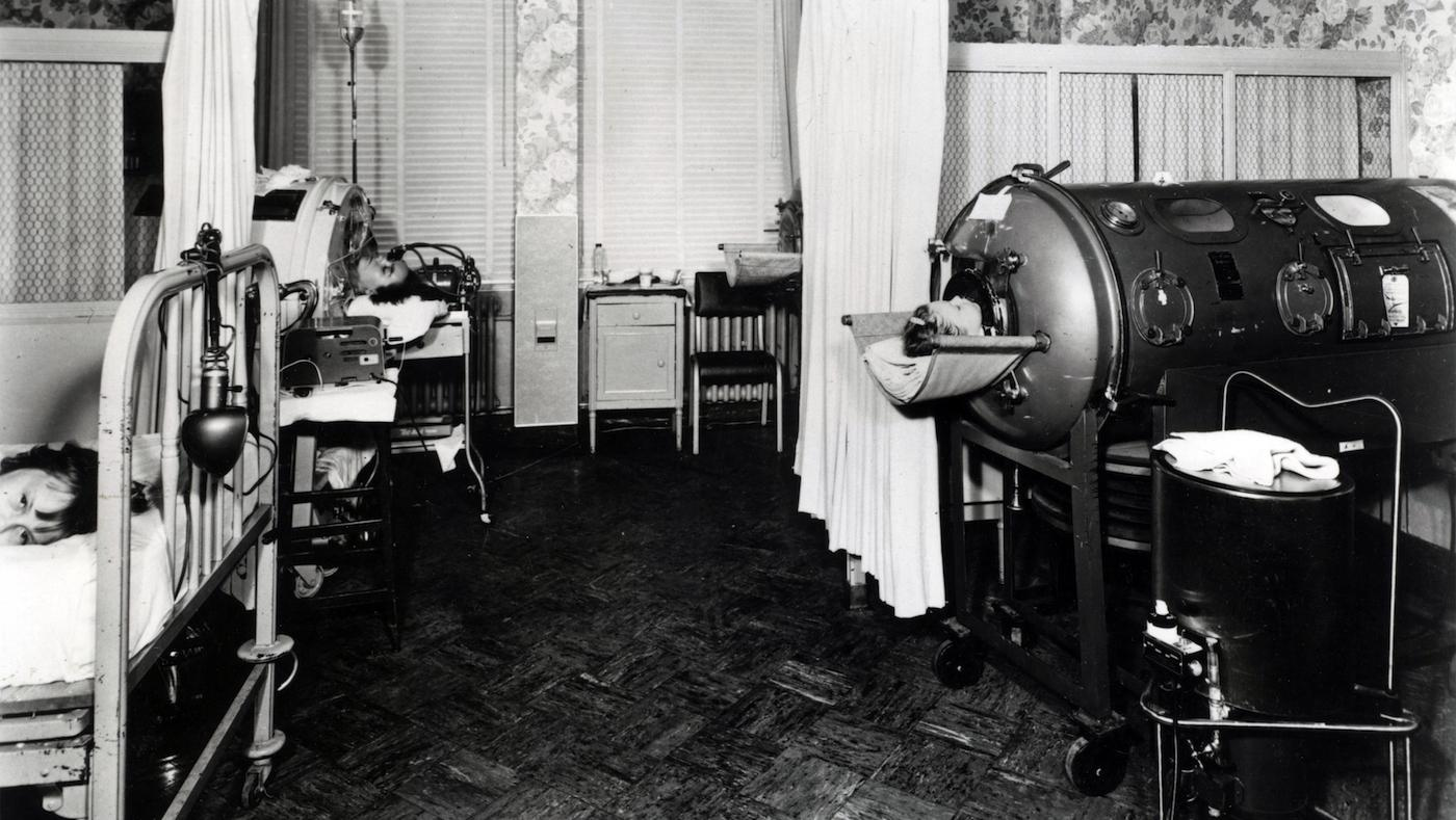 Children being treated in iron lungs. Photo: U.S. Food and Drug Administration
