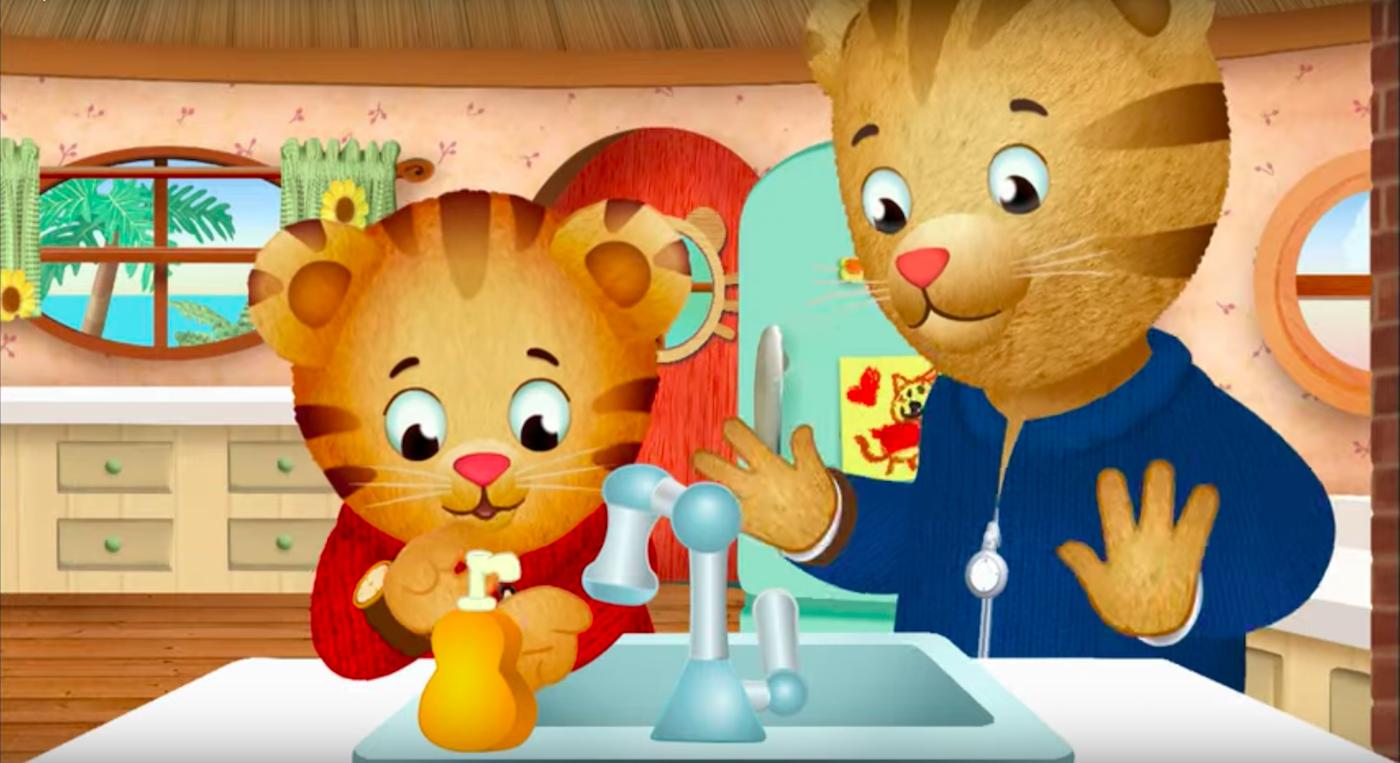Daniel Tiger washing his hands