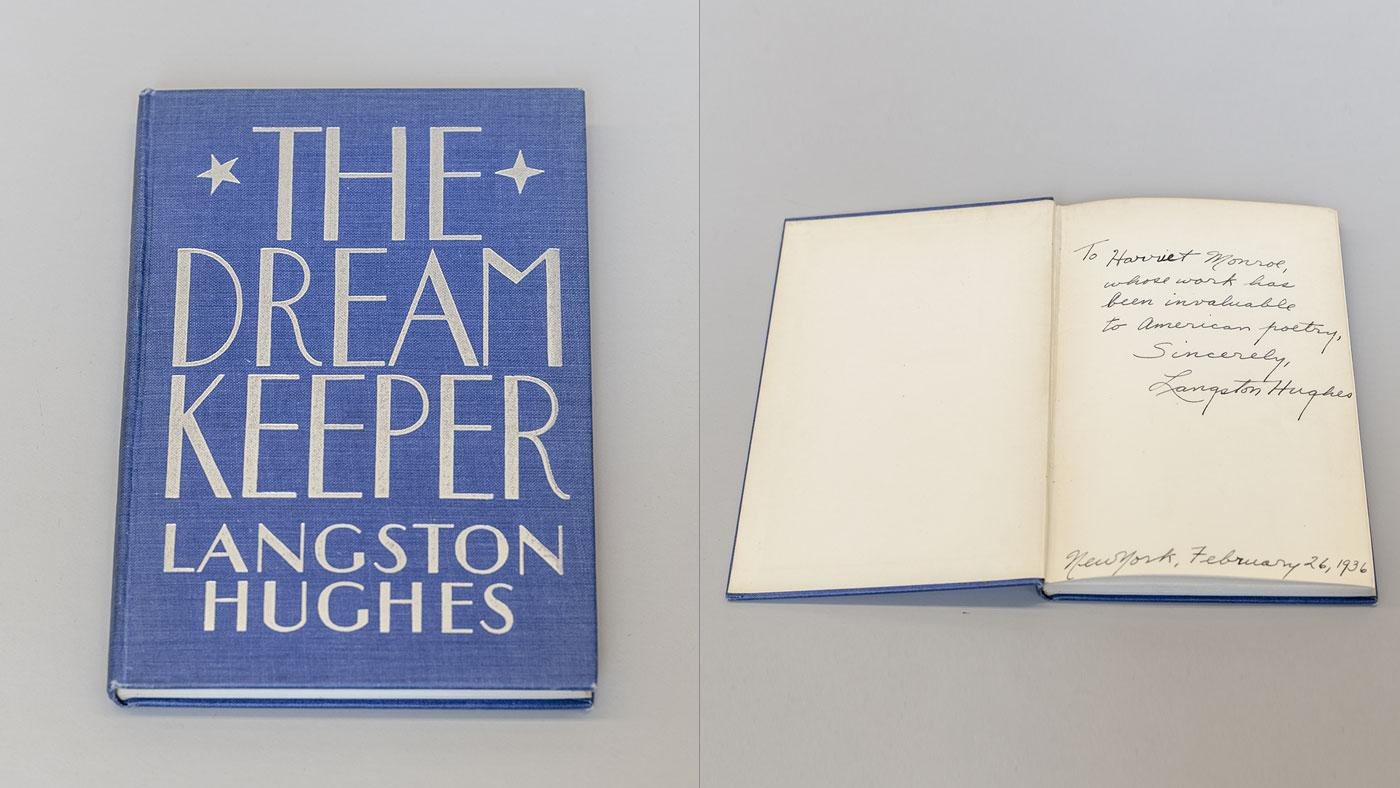 A copy of Langston Hughes's 'The Dream Keeper' with an inscription to Harriet Monroe. Photo: Courtesy of the Poetry Foundation
