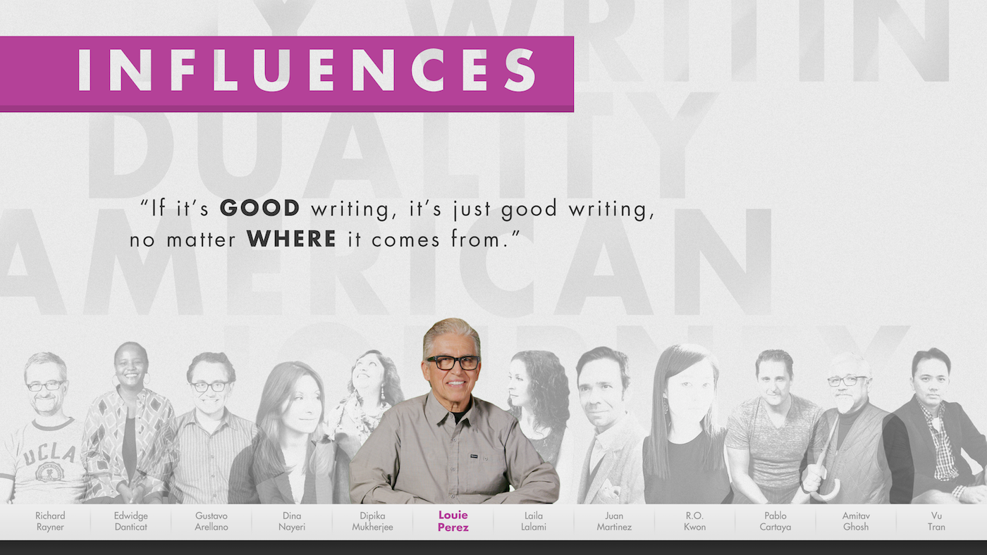 Louie Perez on his influences in a graphic from the American Writers Museum's 'My America' exhibit. Image: American Writers Museum