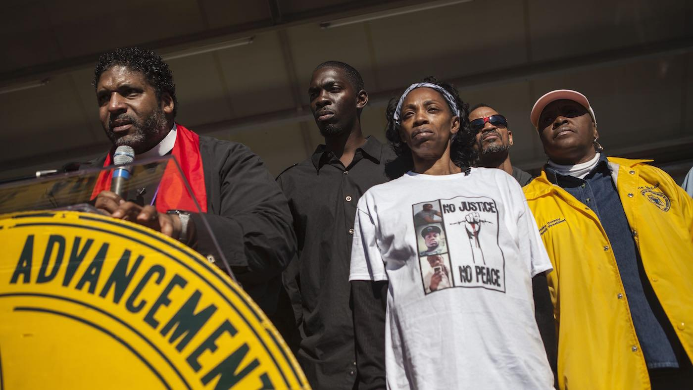Rev. William Barber II calls for justice for Lennon Lacy at a December 2014 rally. Photo: Peter Eversoll