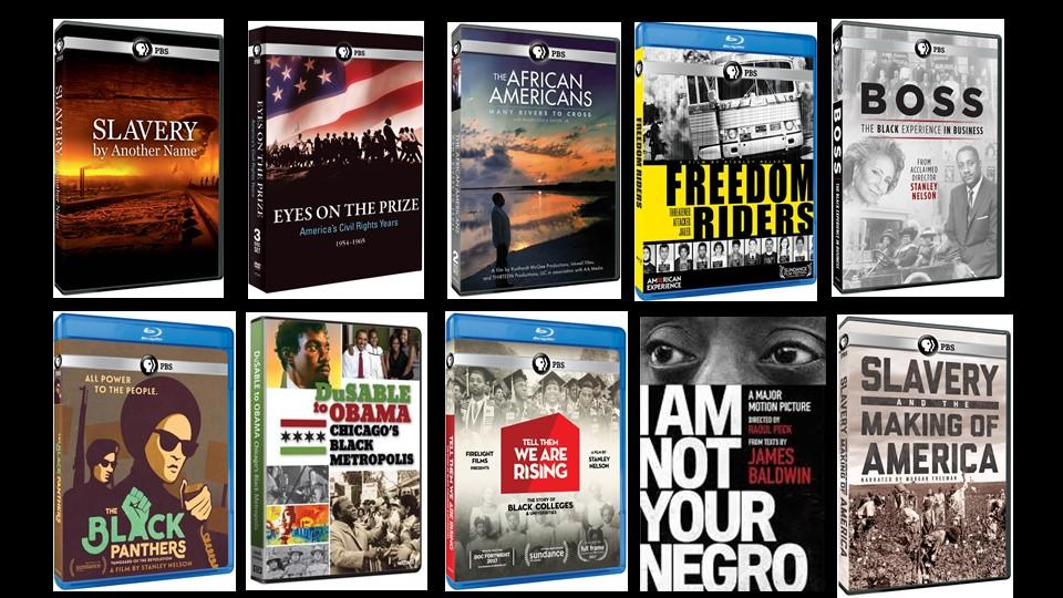 Collage of 10 PBS documentaries on race