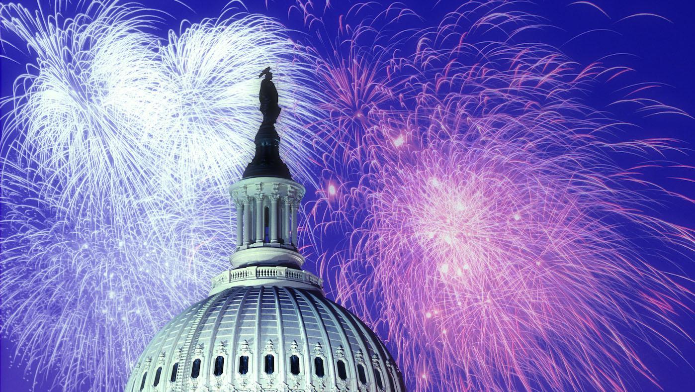 Fireworks over the U.S. Capitol. Photo: Naglestock.com/Alamy Stock Photo